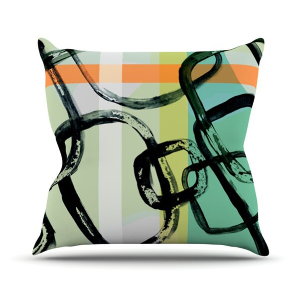 Sixties Stripe Outdoor Throw Pillow by East Urban Home