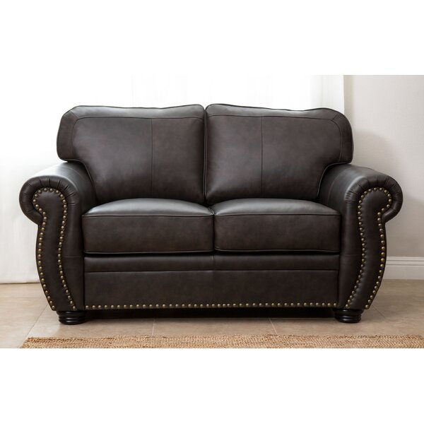 Hotchkiss Leather Loveseat by World Menagerie