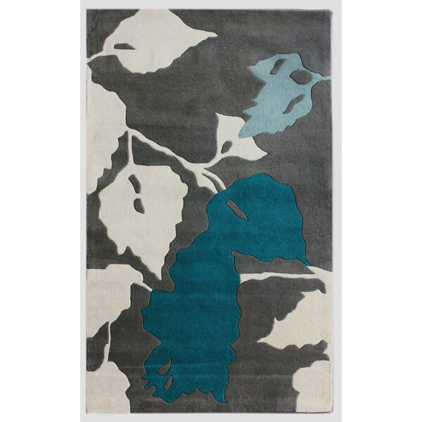 Bella Leaves Gray & Blue Area Rug by nuLOOM