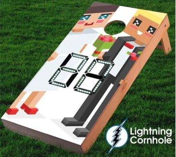 Electronic Scoring Animated Wedding Cornhole Board by Lightning Cornhole