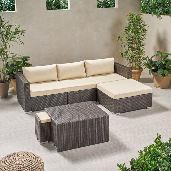 Louth Outdoor 7 Piece Rattan Sectional Seating Group with Cushions by Brayden Studio