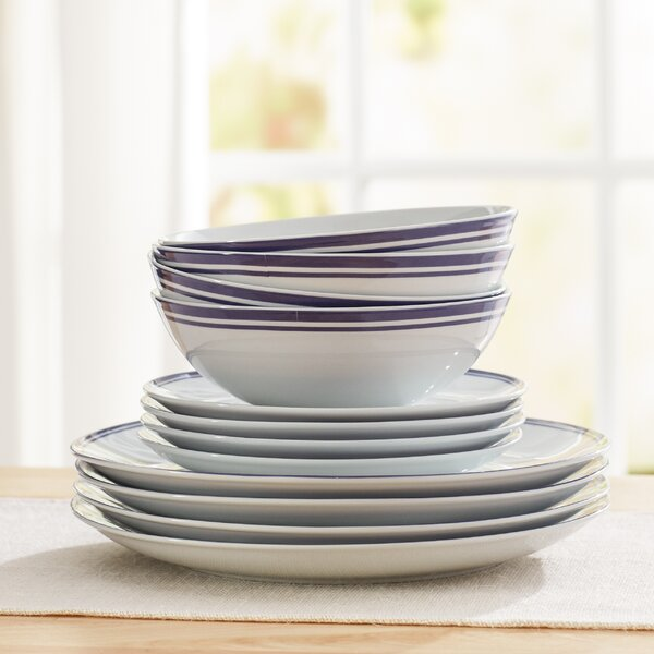 Wayfair Basics 12 Piece Striped Porcelain Dinnerwa