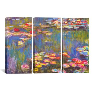 'Water Lilies' by Claude Monet 3 Piece Painting Print on Canvas Set by Alcott Hill