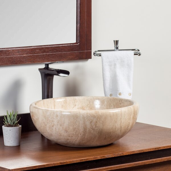 Simak Stone Circular Vessel Bathroom Sink