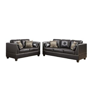 Bonded Leather Sofa And Loveseat Set In Espresso by Latitude Run®