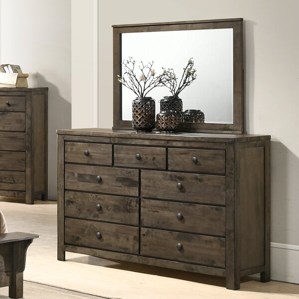 Teignmouth Weathered Distressed 9 Drawer Double Dresser with Mirror by Three Posts