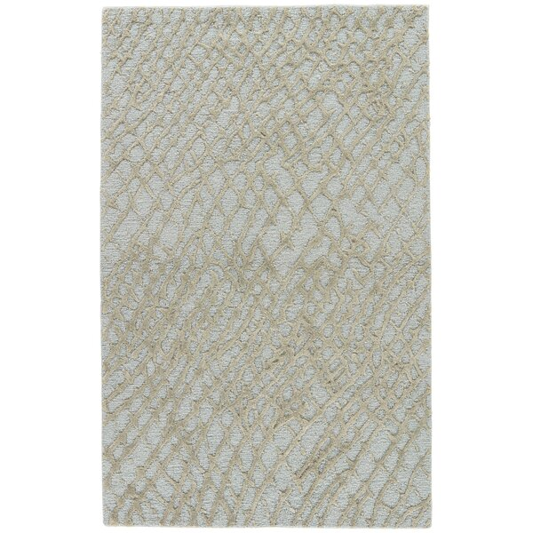 Bruch Hand-Tufted Silver Blue/Sage Area Rug by Highland Dunes