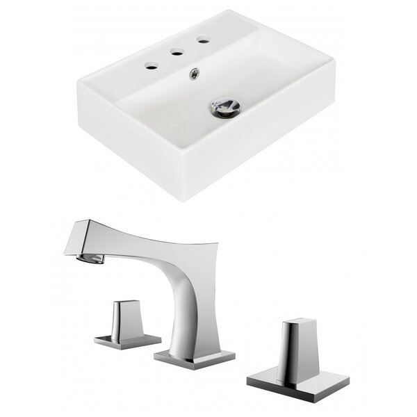 Ceramic 14 Wall Mount Bathroom Sink with Faucet and Overflow by Royal Purple Bath Kitchen
