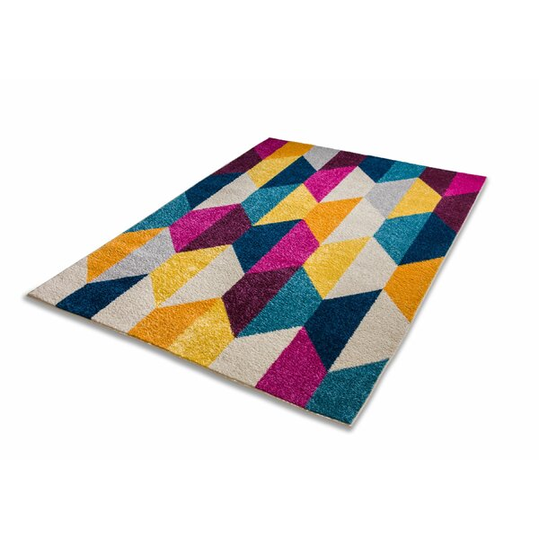 Broxton Lafayette Modern Geometric Hexagon Shapes Pink/Yellow Area Rug by Wrought Studio