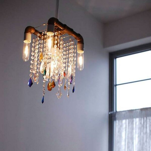 Industrial 5-Light Candle Style Chandelier by Michael McHale Designs