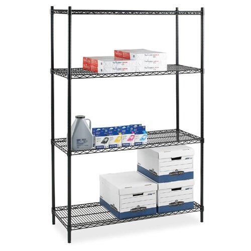 Industrial Wire 72 H 4 Shelf Shelving Unit  Starter by Lorell