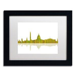Washington DC by Marlene Watson Framed Graphic Art by Trademark Fine Art