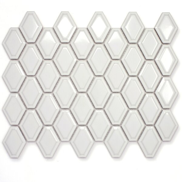 Diamond 3 x 3 Porcelain Mosaic Tile in White by Multile