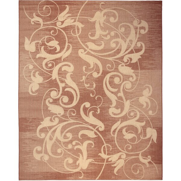 Santos Distressed Scroll Red Indoor/Outdoor Area Rug by Fleur De Lis Living
