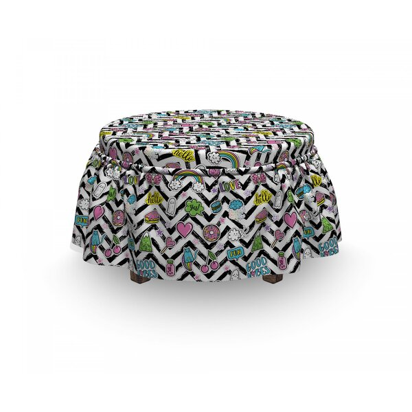 Chill Zigzag 2 Piece Box Cushion Ottoman Slipcover Set By East Urban Home