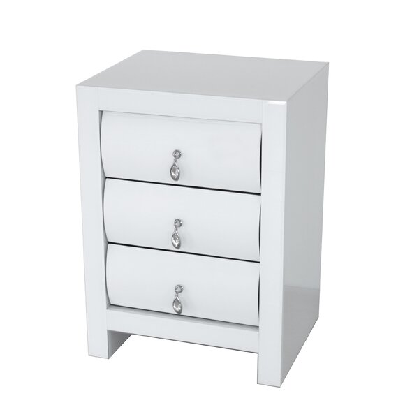 Katarina Curved 3 Drawer Nightstand by Rosdorf Park