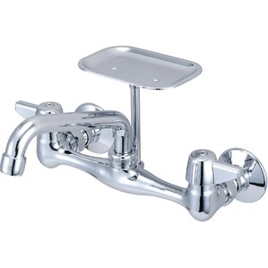 Central Brass Double Handle Wall Mounted Standard Kitchen Faucet with Soap Dish