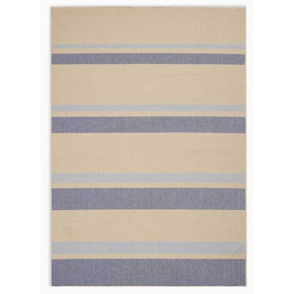 San Diego CK730 Striped Handwoven Flatweave Beige/Light Blue Area Rug by Calvin Klein