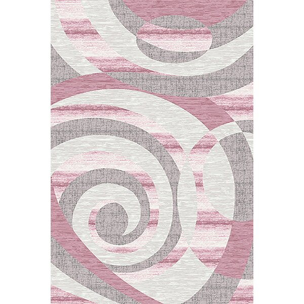 Mccampbell 3D Hand Carved Abstract Gray/Pink Area Rug by Ivy Bronx