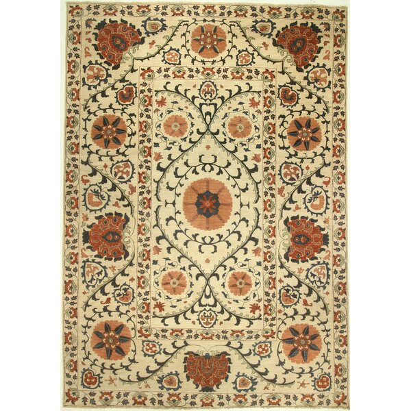One-of-a-Kind Corbin Hand-Knotted Wool Ivory Area Rug by Isabelline
