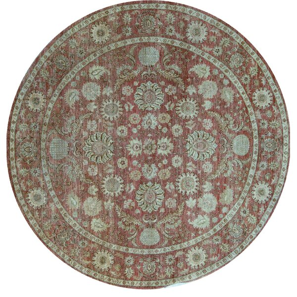 Round Oriental Hand-Knotted Wool Red Area Rug