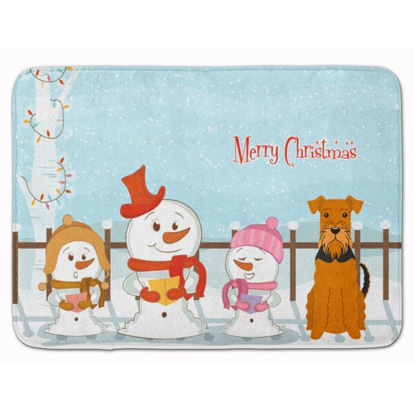 Merry Christmas Carolers Airedale Memory Foam Bath Rug by The Holiday Aisle