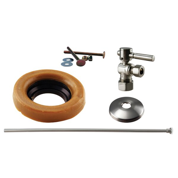 Toilet Kit with Turn Nominal Compression Stop and Wax Ring - Lever Handle by Westbrass
