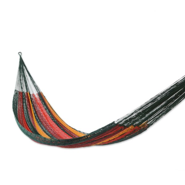 Double Person Striped Red Wine Sunset Hand-Woven Mayan Artists of the Yucatan Nylon With Accessories Included Indoor And Outdoor Hammock by Novica Novica