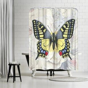Great deal Elizabeth Hellman Swallowtail White Peony Shower Curtain ByEast Urban Home