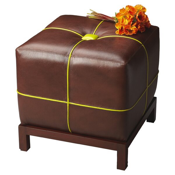 Rachelle Leather Tufted Cube Ottoman By Latitude Run