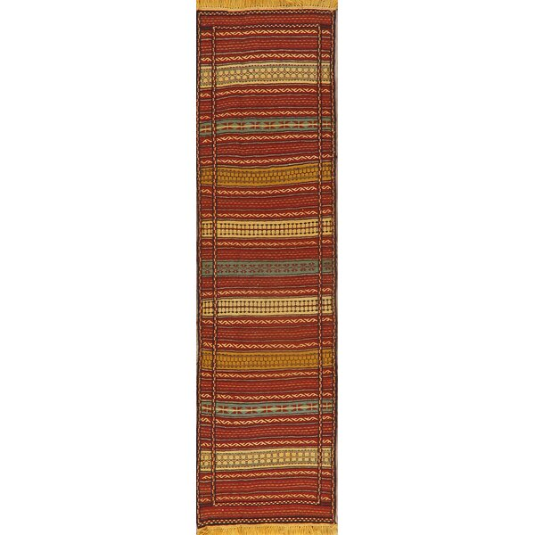 Runner Ebbi Stripe Hand-Knotted 2.4' x 6.6' Wool Red/Beige Area Rug