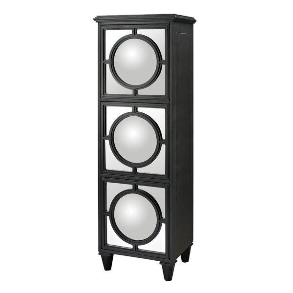 Channell Convex Mirror Shelf Accent Cabinet