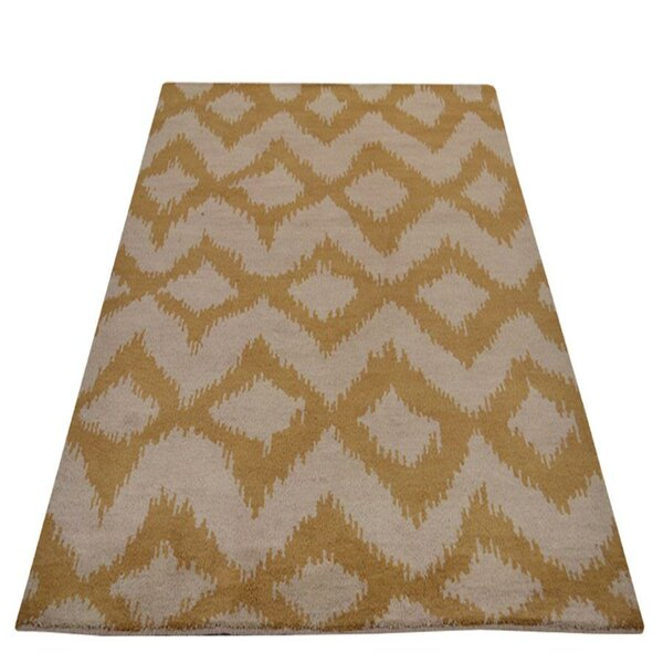 Lecia Geometric Hand-Knotted Wool Beige/Gold Area Rug by World Menagerie
