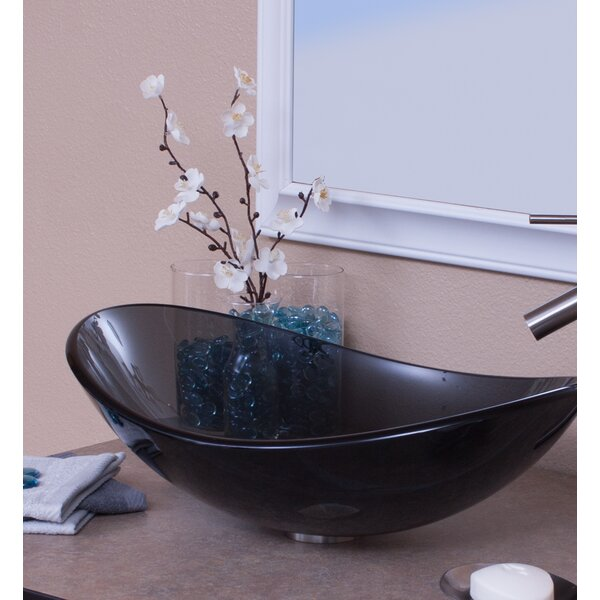 Clear Glass Oval Vessel Bathroom Sink by Topia