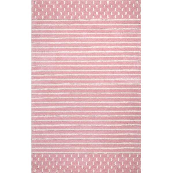 Baddeley Hand Woven Wool Pink Area Rug by Harriet Bee