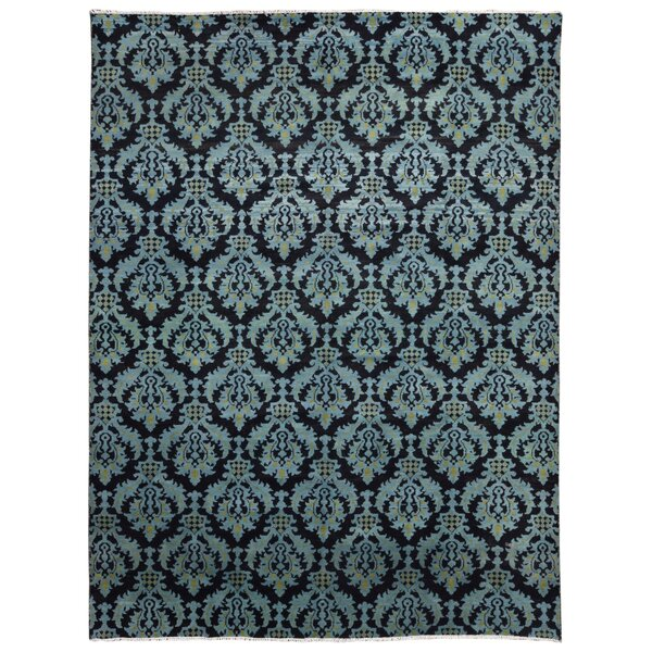 One-of-a-Kind Hileman Modern Turkish Knot Hand-Woven Wool Black/Blue Area Rug by Bloomsbury Market