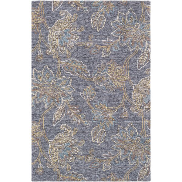 Arata Floral-Hand Tufted Wool Blue Area Rug by Charlton Home