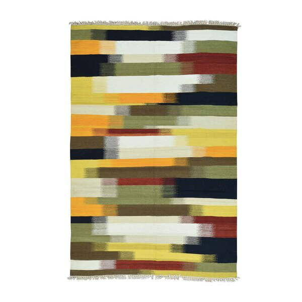 One-of-a-Kind Fludd Reversible Kilim Oriental Flat Weave Hand-Knotted Yellow/Green Area Rug by World Menagerie