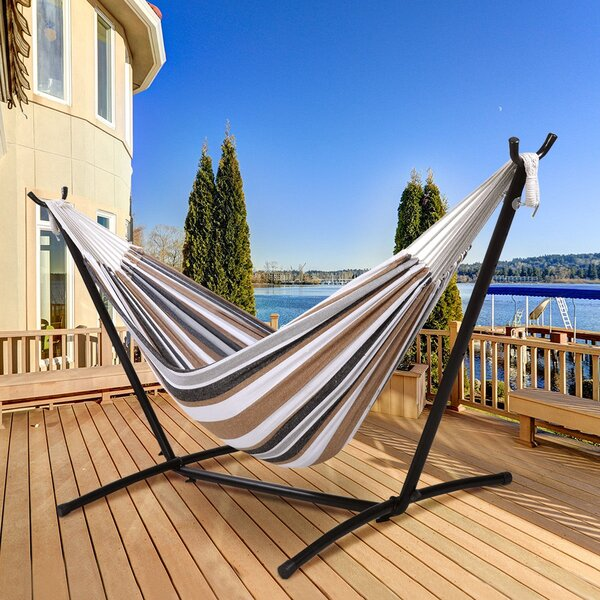 Tunkhannock Steel Double Spreader Bar Hammock with Stand by Ebern Designs