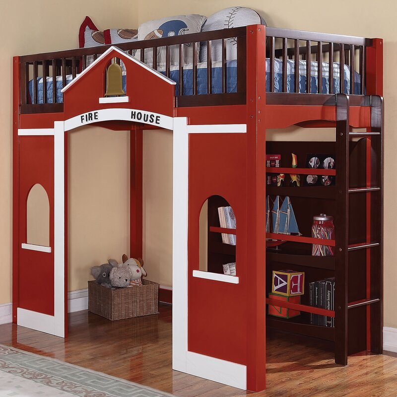 Zoomie Kids Hannah Loft Bed With Bookshelf