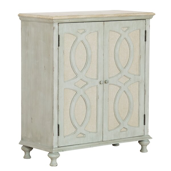 Eilidh Wood and Fabric 2 Door Accent Cabinet by Ophelia & Co.