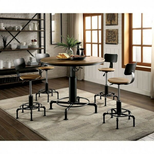 Goldie Industrial 5 Piece Solid Wood Dining Set by 17 Stories