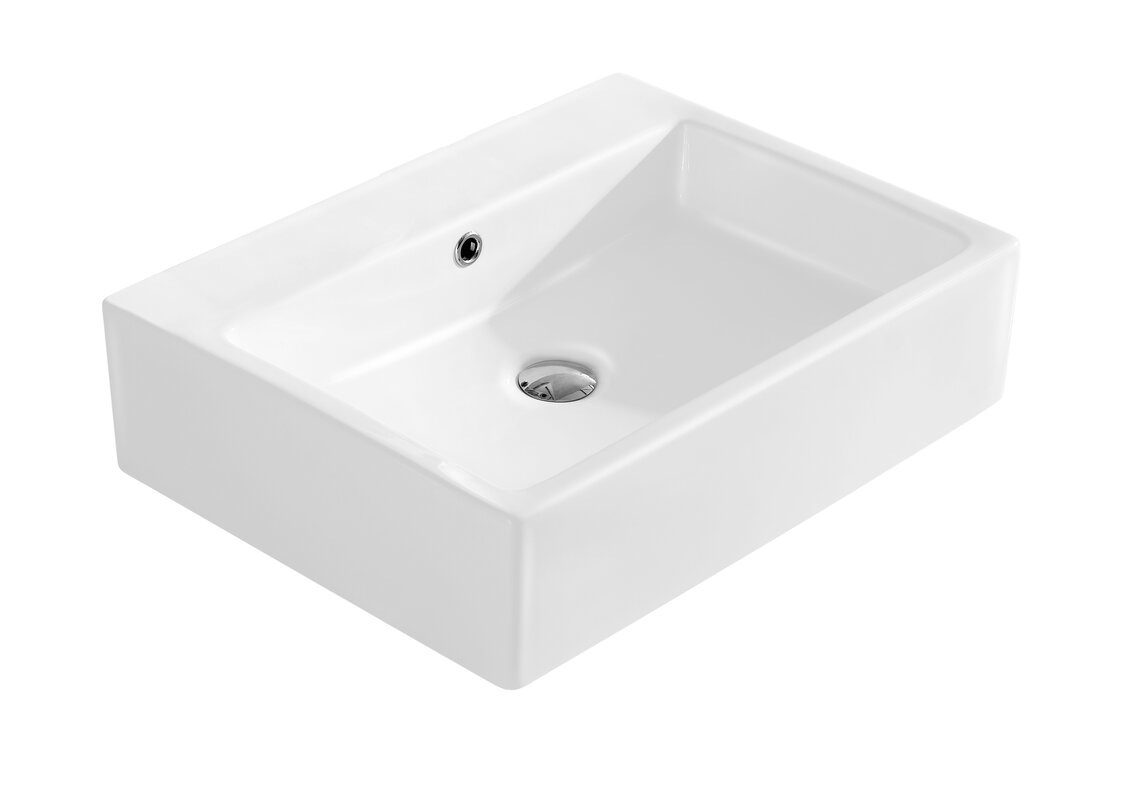 Modern Ceramic Rectangular Vessel Bathroom Sink with Overflow