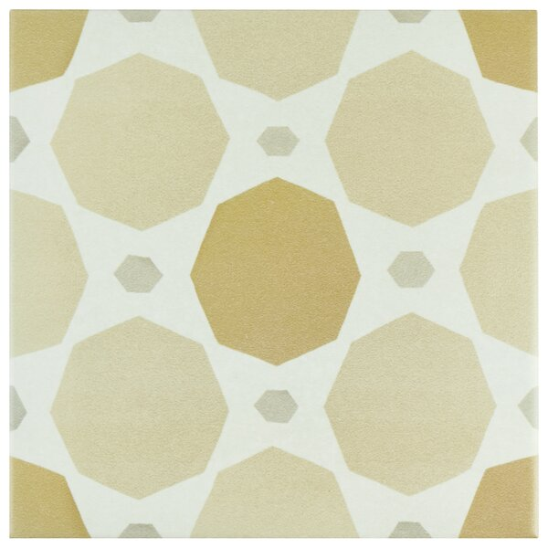 Grotta 7.88 x 7.88 Porcelain Field Tile in Orange/Sand by EliteTile