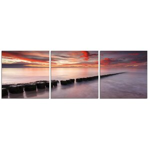 'Rocks, Sunset, Ocean' Photographic Print Multi-Piece Image on Canvas by Latitude Run