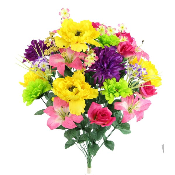 36 Stems Faux Full Blooming Lily, Peony, Zinnia and Mum Flower Mixed Floral Arrangement by Winston Porter