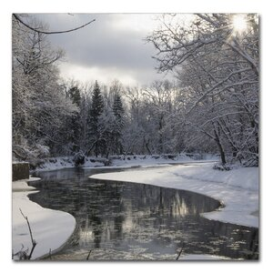 Fresh Snowfall on the River by Kurt Shaffer Photographic Print on Wrapped Canvas by Trademark Fine Art