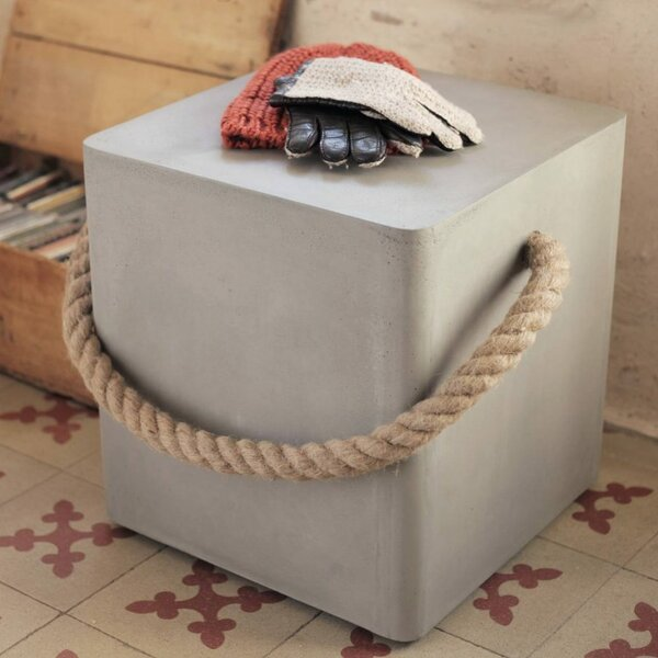 Edge Wheels and Rope Accent Stool by Lyon Beton