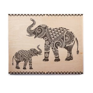 'Ornate Indian Elephant-Boho' Graphic Art Print on Wood by East Urban Home