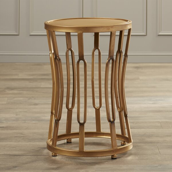 Valerio Hourglass End Table with Metal Top by Willa Arlo Interiors